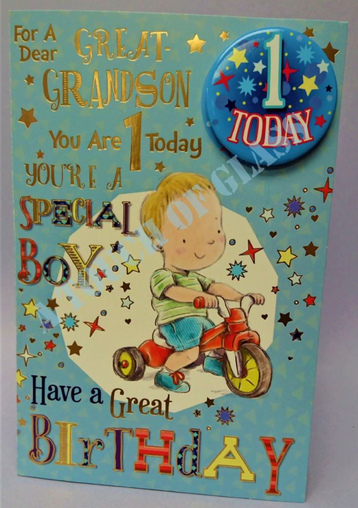 Great Grandson 1st Birthday Badge Card - Candy Club - Greetings Cards